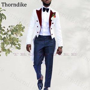 Thorndike 2020 Custom Made Slim Fit Groomsmen Tuxedos (Jacket+Pants) 2 Pieces Set Double Breasted Groom Wedding Men Suit Set