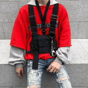 Homme Tactical Vest Harness Kanye West Vest Greig HIP HOP Streetwear Sac à poitrine fonctionnel de la gilet avant Pack avant 062502