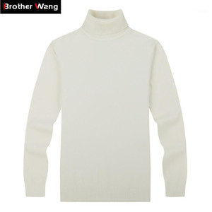 Brother Wang Marque Hommes Pulls occasionnels Sweater Style classique 100% coton Slim Business Business Turtleneck Pull Mâle Black1