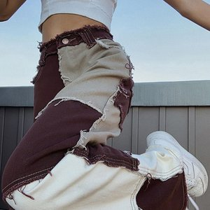 Контрастного цвета Проблемные Y2K джинсы Брюки Женщины Harajuku Chic Streetwear Эпикировка высокой талией Прямо джинсовые брюки Cuteandpsycho 201006