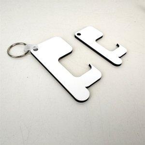 Sublimación Llavero Germ Free Key cadena de manejar sin contacto de la puerta de madera en blanco llavero bricolaje anillos de llave de seguridad sin contacto Abrepuertas CCB2258
