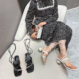 Dxfan luxus perle schnüre up sandalen frauen gemeter ball heel designer schuhewomen elegante sommer bohemia damen schuhe1