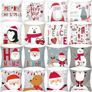وسادة عيد الميلاد غطاء الكرتون سانتا كلوز منقوشة الأيل عيد ميلاد سعيد المخدة ديكورات للمنزل عيد الميلاد زخرفة 45X45CM WY888