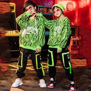 Enfants Street Dance Outfit HIP HOP Costumes Boys Sweat-shirt Lâche Hip Hop Suit Filles Scène Spectacle Ballroom Dance Wear VDB2997