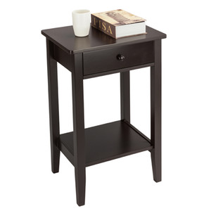 WACO Classic End Table, 2-layer with Drawer, Living Room Furniture Coffee Table Side Table Coffee Color