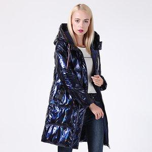 Зимняя куртка женщин Серебряный голографический блеск плюс размер с капюшоном Длинные женские зимние пальто с капюшоном Толстые пуховики Parka 201012