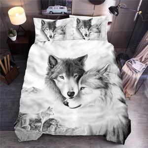 Wolf Пары Printed Постельные принадлежности Комплекты животных пододеяльник Комплекты Queen King Одеяло Обложка Постельное белье VYrW #