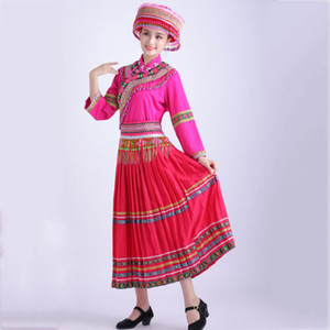 woman Embroidery hmong clothing stage performance wear ethnic miao dancing dress elegant skirt suit Asia folk dance costume