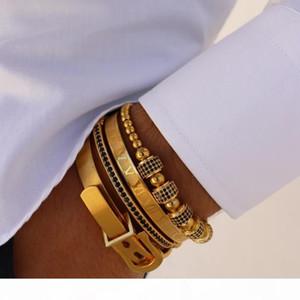 Men bracelets 4pcs Set Hot Men Titanium Steel Roman Numeral Bracelet Horseshoe Buckle Bangles Pulseira Bileklik Luxury Handmade Jewelry