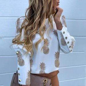 Puff Shoulder Blouse Shirts Office Lady 2020 New Autumn Metal Buttoned Detail Blouses Women Pineapple Print Long Sleeve Tops