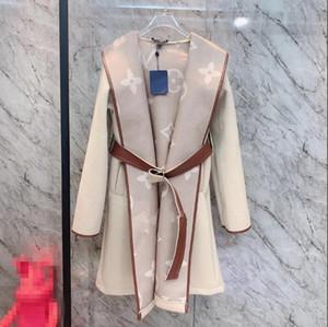 2020 Winter neue Damen Umgriff Farbe Spitzen-up mit Kapuze Kaschmirmantel Wollmantel
