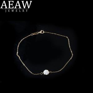 AEAW Твердое белое золото 14K 6.5mm 1.0ct Lab Grown Муассанит Алмазный браслет положительный результат теста для женщин Модный Стиль изящных ювелирных изделий 1028