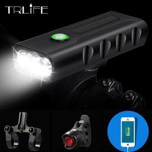15000Lum 2/3 * L2 / T6 USB Recargable incorporado 5200mAh 3Modos de bicicleta Luz de faros a prueba de agua Accesorios para bicicletas con la luz trasera 201109