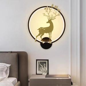 Wall Light 18W Artpad Nordic Deer metallo rotonda dimmerabili Lampada da comodino bianco nero per Stair Corridoio Balcone Soggiorno AC220V