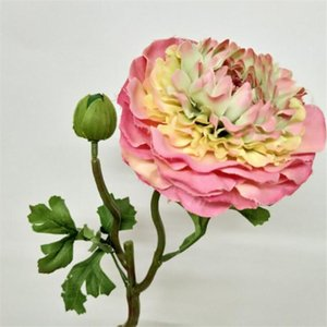 """12pcs Sahte Kısa Alp Lotus (2 kafaları / adet) Düğün Ev Dekoratif Yapay Çiçekler için 14.57"""" Uzunluk Simülasyon Şakayık Stem"""