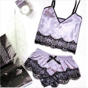 2 Pieces Pyjamas Sexy Lace Satin Pajama Sets for Women Pijamas Silk Sleepwear Lady Pajamas Sexy Lingerie Nightwear Homewear 20191