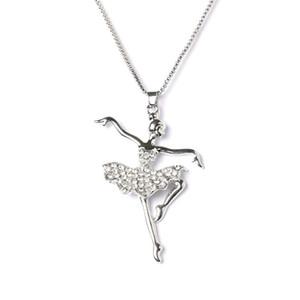 Anhänger Halsketten Mode Silber Überzogene Weiß Tanz Ballerina Tänzerin Ballett Tanz Halskette Charme Mädchen Weihnachten Valentinstag Geschenk