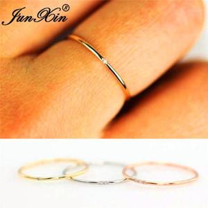 Junxin штабелирование женского тонкая кольца с камнем 925 серебристый розовое золото заполнено изысканные обручальные кольца для женщин белый кристалл MIDI Ring1