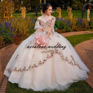 Stunning Embroidery Lace Ball Gown Quinceanera Dress 2021 Off the Shoulder Mexican Sweet 16 Dress Masquerade Prom Party Gowns