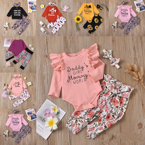 Infant Baby Cartoon Sets Letter Leopard Tops Ruffle Rompers Sunflower Pants Leopard Lace Elastic Trousers Headband Kids Baby Clothes 380 J2