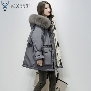 HXJJP Large Natural Fox Fur Hooded Winter Jacket Women 90% White Duck Down Thick Parkas Warm Sash Tie Up Snow Coat Y1112