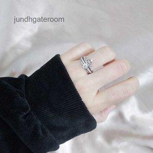 Jall Tiktok Ring Micro 925 Стерлингового серебра 925 Женский Матч Двухэтажня Два Части Съемное сочетание джиттера