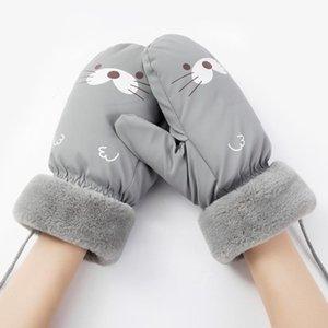 Luxury-Cute Waterproof Mittens Women Girls's Winter Gloves Cartoon Pattern Gloves Warm Fur guantes Female Hand Wear Windprof