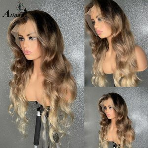 Ombre 613 Honey Blonde Blonde Color Body Wave Human Hair Park PRE PILUCKED HD Transparent Glueless Parrucche anteriori in pizzo frontale Frontale Chiusura piena