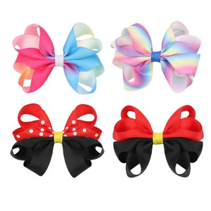 """Pcs lots 3.5""""Gradient Rainbow Hair Bows With Clips For Girls Kids Boutique Dot Printed Hair Clips Fashion Hair Accessories"""