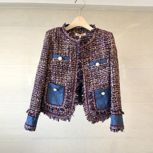 Elegant Denim Spliced Tweed Jacket Coat Autumn Winter Women Long Sleeve Fringed Trim Tassels Pocket Design Woolen Female Outwear 201021