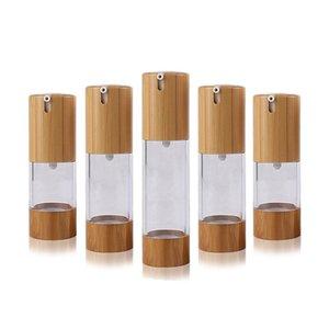 50pcs 50ml Bambus Airless-Pumpe Flasche mit Serumkappe Pumpe Logogravur natürlicher Bambus kosmetischen Verpackungsmaterial