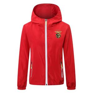 Koşu Su geçirmez ceket ceket ceketler Windproof Kapşonlu WINDBREAKER futbol formaları futbol hoodie fermuar 2020 2021 yeni benfica futbol ceket