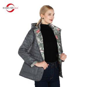 MODERNE NOUVEAU SAGA Automne réversible coton matelassé avec capuche Femmes Manteau chaud Femme Taille russe 201015