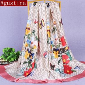 Seide Gefühl Schal Schals Winter Herbst Frauen Schal Sjaal Hijab Oversize Schals Satin Plaid Designer Marke Luxus Pfau Druck Y201007