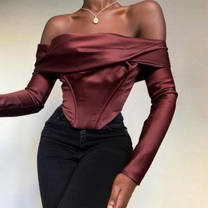 Women Off Shoulder Satin Corset Tops Long Sleeve Blouses Shirts Wine Elegant Shirts Sexy Backless Top Cropped