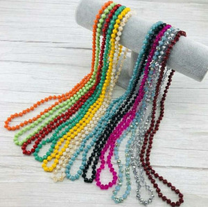 2020 European and American hot-selling handmade simple beaded and knotted crystal flat bead necklace glass knotted sweater chain with jewelr
