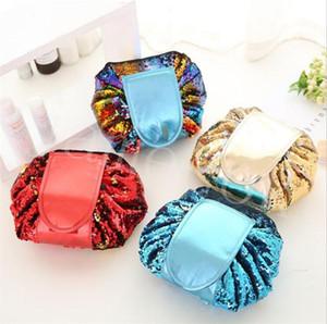 Embrague de almacenamiento 4styles las lentejuelas bolsas de cosméticos de maquillaje con lentejuelas bolso de lazo cosméticos bolsa de viaje Mujeres PU Bolsas DB076