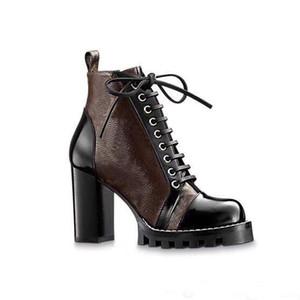 Hochhackige Martin Stiefel Winter-Coarse Ferse Frauenschuhe Wüstenstiefel aus 100% echtem Leder High Heel Stiefel schnüren sich oben hohe Absätze Große Größe 35-42