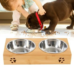 Dog Food Large Feeding Stand Station Stainless Pet Double Bowls Stand jllmcT eatout