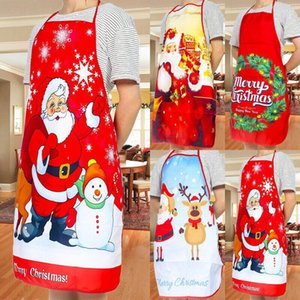 Red Christmas Aprons Adult Santa Claus Aprons Women and Men Dinner Party Decor Home Kitchen Cooking Baking Cleaning Apron GWF2089