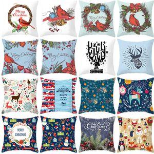 Cartoon Printed Peach Skin Velvet Christmas Pillow Cover 2020 New Sofa Pillow Case Home Decoration