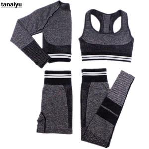 MinAnser Feminina Tracksuit Yoga 4 peças de bicicleta 2020 Biker Shorts Home Exercício Push Up Gym Set Four Seasons Sportswear