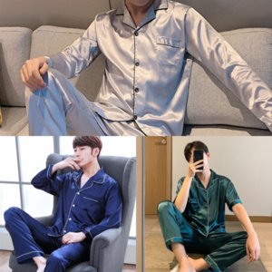 hb4 New Spring Autumn pajamas Nightgown man Luxury Bathrobe Men Hombre Satin Pajamas Kimono Summer Male winter Saten Robe Albornoz Solid