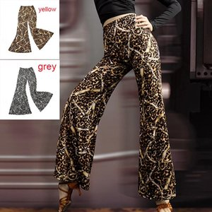 Latin dance pants women adult new leopard wide leg trousers ballroom dance practice pants