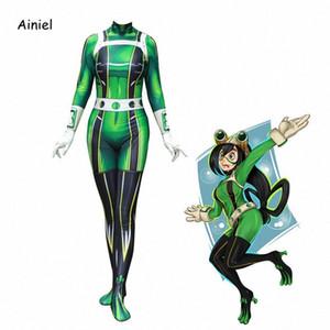 Ainiel My Hero Academia Froppy Tsuyu Asui Cosplay Spandex Zentai delle ragazze delle donne delle tute di Halloween bambini e adulti Y200109 95mW #