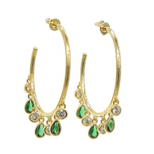 Luxury Gold color green cz 33mm Hoop Earrings for Women Big Statement Round Circle Earing C Shape Earings Fashion Jewelry 20201
