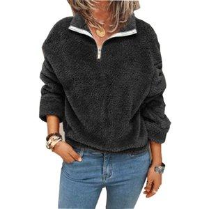 여성용 후드 스웨터 가을 겨울 양털 스웨터 풀오버 여성 우아한 턴 칼라 지퍼 탑 캐주얼 솔리드 긴 소매 이상