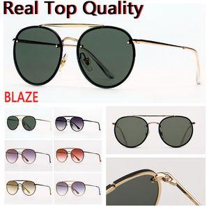 Дизайнерские солнцезащитные очки Blaze Double Bridge Round для мужчин Солнцезащитные очки Женщины Солнцезащитные Очки Очки с кожаным корпусом, Тканью, Розничная торговля аксессуарами