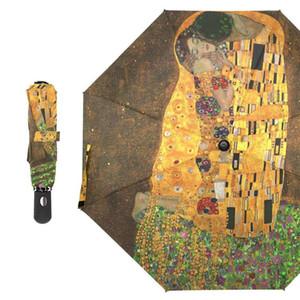 Gustav Klimt Масло живопись Женщины Автоматические складные зонтики для девушки портативный маленький зонтик дождь