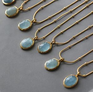 Ожерелье звездное море синие овальные натуральные моря синее ожерелье цепь цепь цепи титана сталь покрытием с 18K золотые ювелирные аксессуары YL219